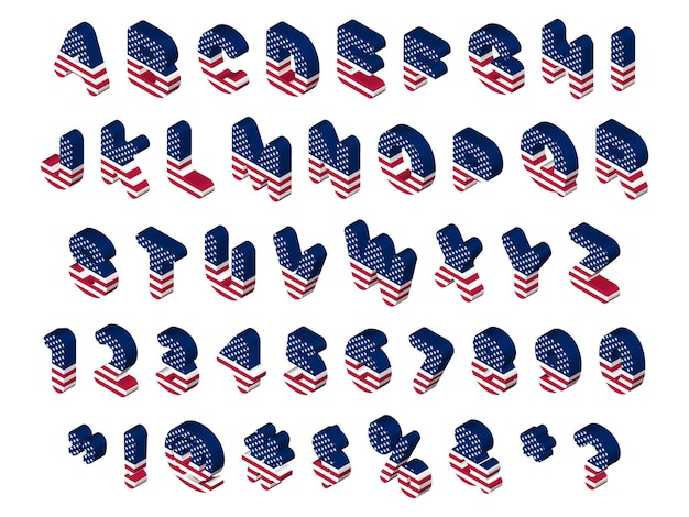Isometrische usa flag buchstaben und symbole