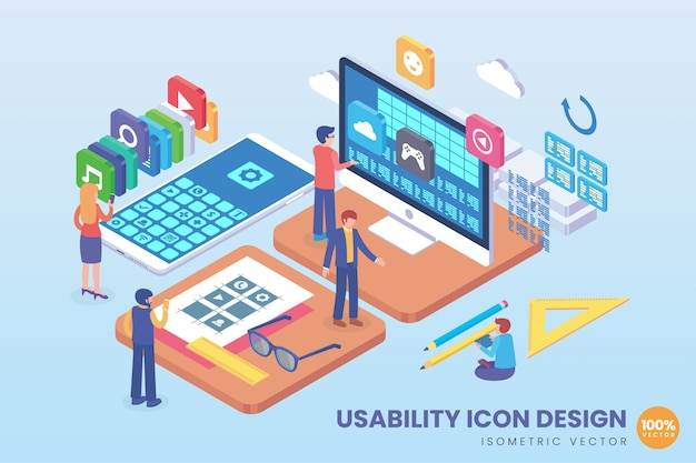 Isometrische usability icon design illustration