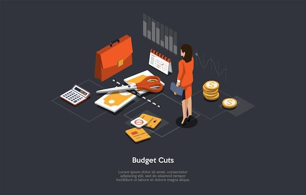 Isometrische vektor-illustration cartoon 3d-stil. zusammensetzung auf dunklem hintergrund mit infografiken. budgetkürzungen-konzept. finanzielle probleme, unternehmensinsolvenz, investitionsrezession. geldbezogene artikel.