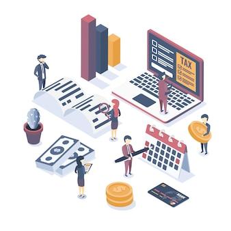 Isometrische vektor-illustration. das konzept der wirtschaftsprüfung. steuerprüfung. überprüfung der buchhaltungsdaten. finanzbericht. professionelle prüfungsberatung.