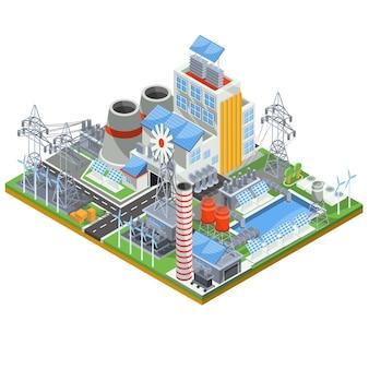 Isometrische vektor-illustration eines thermischen thermischen kraftwerks läuft auf alternative energiequellen.