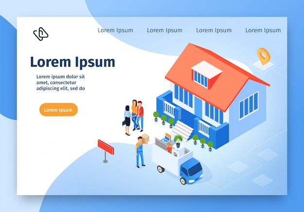 Isometrische vektor-website der hauptumzugsfirma