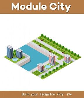 Isometrische vektorabbildung einer modernen stadt