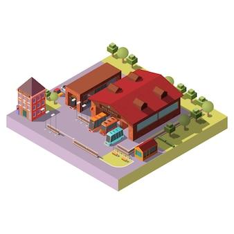 Isometrische vektorikone des busdepotgebäudes außen