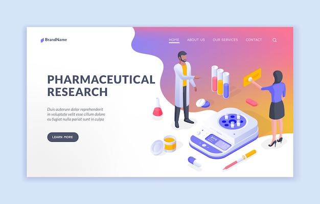Isometrische vektorillustration der pharmazeutischen forschung