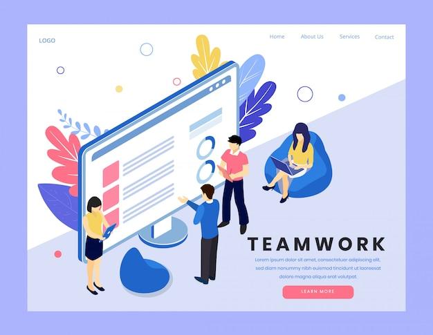 Isometrische vektorillustration der teamarbeit