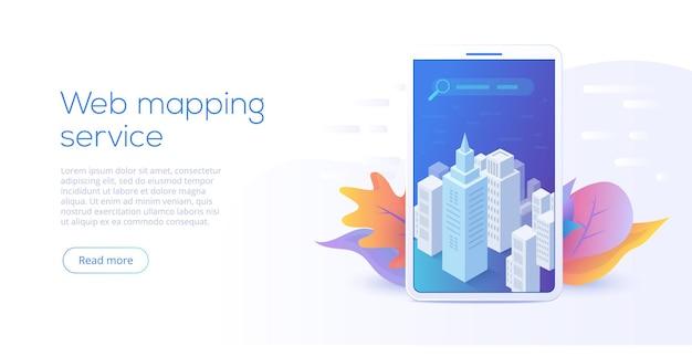 Isometrische vektorillustration der web-mapping-app