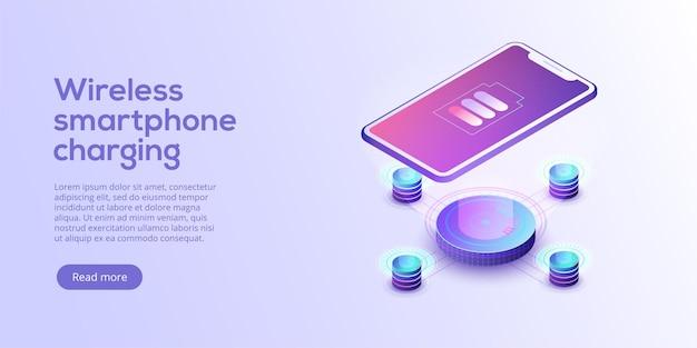 Isometrische vektorillustration des induktiven smartphones aufladen