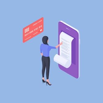 Isometrische vektorillustration des modernen weiblichen kunden, der online-rechnung auf smartphonebildschirm nahe kreditkarte nach geldtransaktion auf blauem hintergrund liest