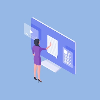 Isometrische vektorillustration des weiblichen angestellten, der daten im online-dokument auf computermonitor analysiert, während im büro auf blauem hintergrund arbeitet