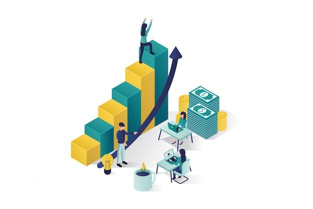 Isometrische vektorillustration, die charaktere einer gruppe von personen ein geschäftsprojekt vorbereiten, beginnen oben. aufstieg der karriere zum erfolg, business-isometrie, business-analyse