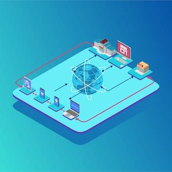 Isometrische verbindung karte der kryptowährungsgeschäfte
