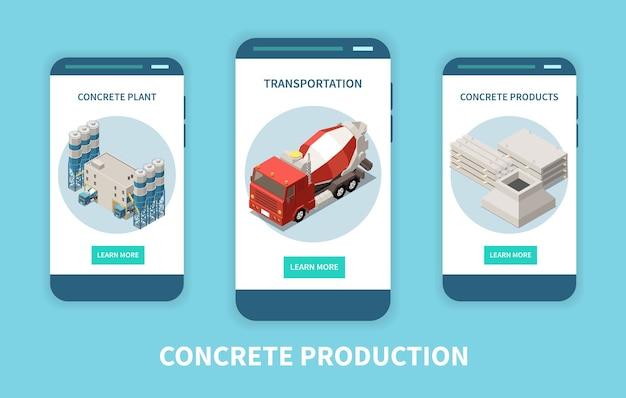 Isometrische vertikale banner-satzillustration der betonzementherstellung Premium Vektoren