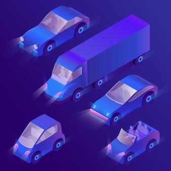 Isometrische violette autos 3d mit scheinwerfern