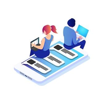 Isometrische virtuelle beziehungen online-dating und social-networking-konzept