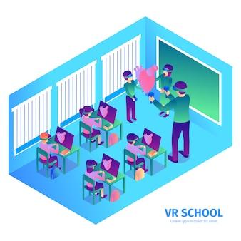 Isometrische virtuelle realitätszusammensetzung mit text und innenansicht des futuristischen klassenzimmers mit lehrer- und kindervektorillustration