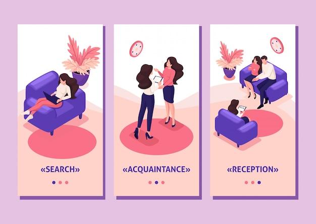 Isometrische vorlage app konzept ehepartner an der rezeption des psychologen, konflikt in der familie, smartphone-apps