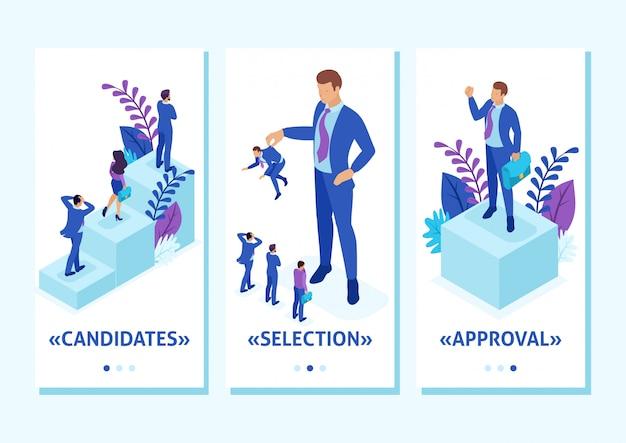 Isometrische vorlage app personal ändern, der große chef hält den mitarbeiter den rest fürchten, smartphone-apps. einfach zu bearbeiten und anzupassen
