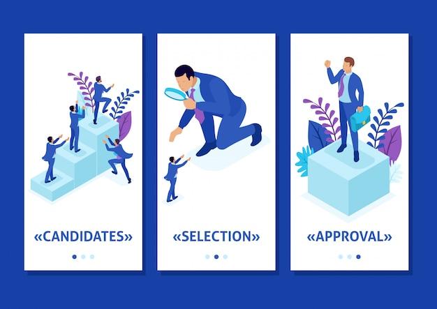 Isometrische vorlage app wettbewerbskampf um karrierewachstum, geschäftsmann betrachtet kandidaten durch eine lupe, smartphone-apps