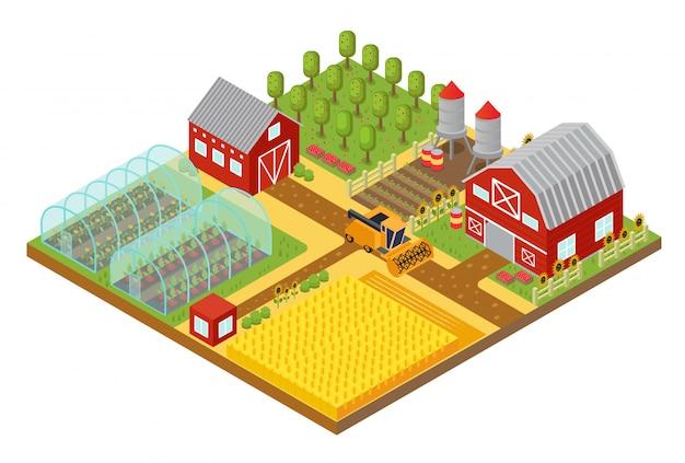 Isometrische vorlage der ländlichen 3d-farm mit garten-, feldbauernhaus- und gewächshausspiel- oder app-illustration.