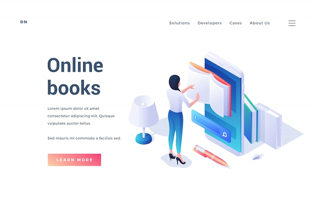 Isometrische vorlage der website-bannerwerberessource von online-büchern mit weiblicher lesung in app des mobiltelefons lokalisiert auf weiß