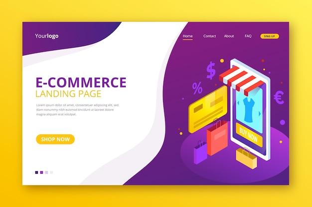 Isometrische vorlage für die e-commerce-landingpage