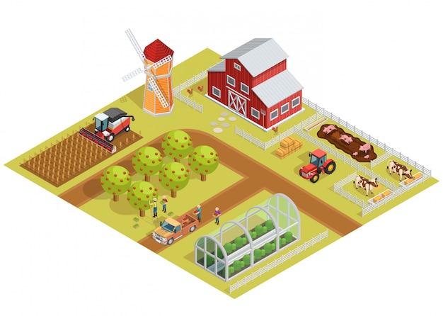 Isometrische vorlage für landwirtschaftliche betriebe