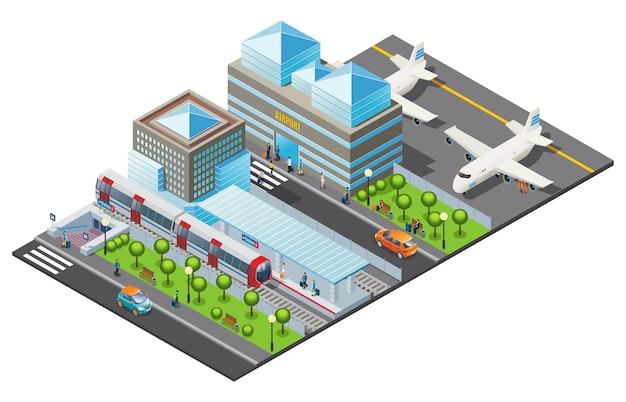 Isometrische vorlage für öffentliche verkehrsmittel