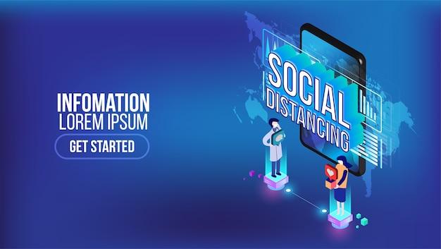 Isometrische vorlage für soziale distanzierung in menschen der öffentlichen gesellschaft