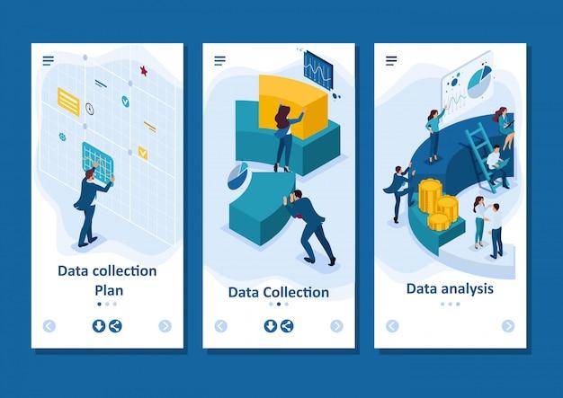 Isometrische vorlagen-app geschäftsleute berichten über digitales marketing und smartphone-apps