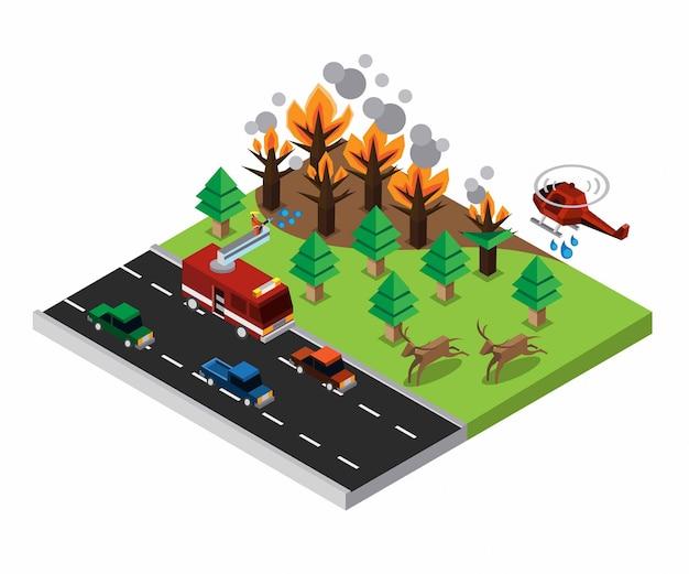 Isometrische waldbrandkatastrophe mit feuerwehrauto, auto, hubschrauber und tierillustration
