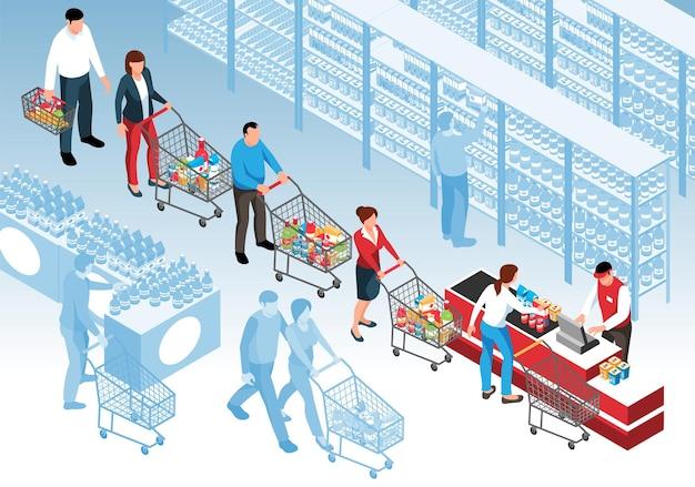 Isometrische warteschlange mit kunden, die im supermarkt in der schlange stehen