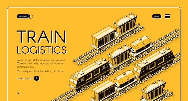 Isometrische web-banner der zuglogistik. lokomotive zieht güterzug
