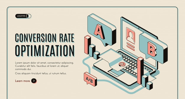 Isometrische web-banner zur optimierung der conversion-rate.