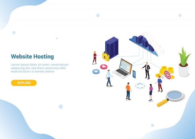 Isometrische web- oder website-hosting-business-service für web- oder website-vorlage
