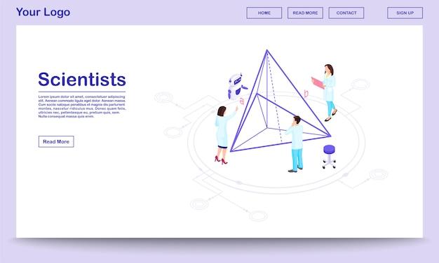 Isometrische webseitenvorlage für computergestützte wissenschaft. wissenschaftler mit ki-assistent. geometrieexperten berechnen pyramidenproportionen und führen 3d-modelle durch. landingpage des hi-tech-forschungszentrums