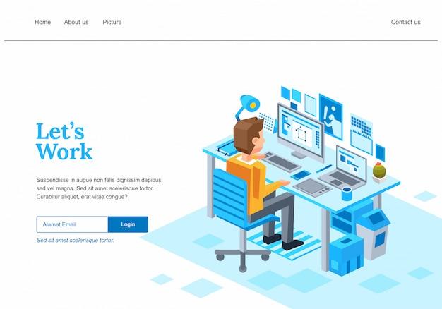 Isometrische webseitenvorlage für einen kreativen geschäftsverfahren, ein grafischer designer, der am computer mit stifttablet-illustration arbeitet -