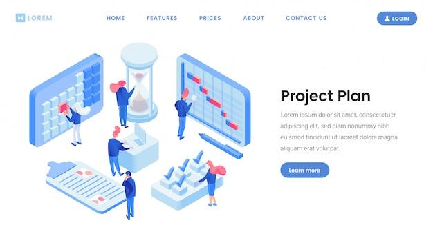 Isometrische website-vorlage für die projektplanung