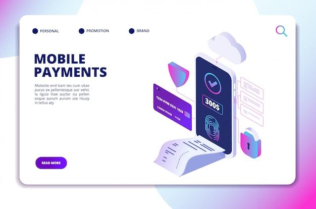 Isometrische website-vorlage für mobile zahlungen