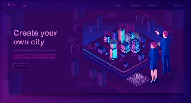 Isometrische website-vorlage für smart city