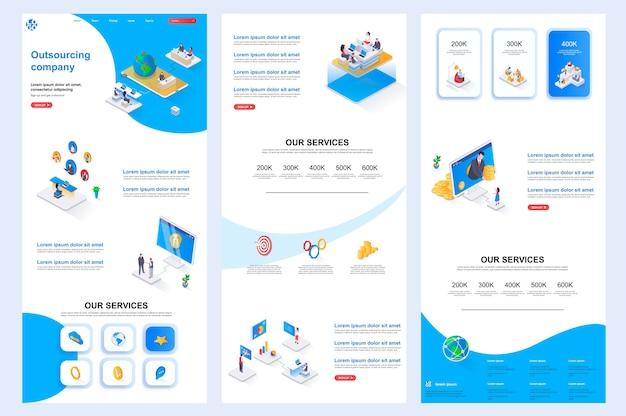 Isometrische website-vorlage landing page mittlerer inhalt und fußzeile des outsourcing-unternehmens