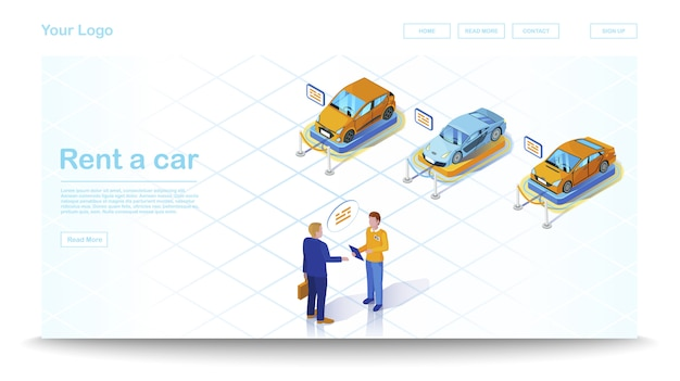 Isometrische websiteschablone des autohauses
