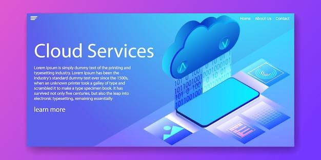 Isometrische webvorlage für cloud services-technologie