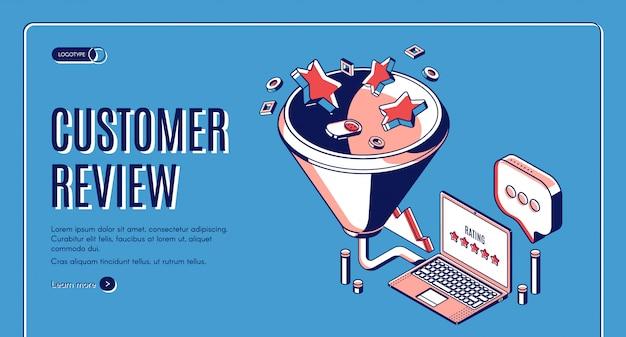Isometrische webvorlage für kundenbewertung