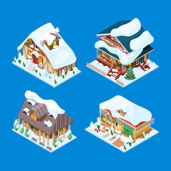 Isometrische weihnachtlich geschmückte häuser mit weihnachtsbaum und schneemann. illustration