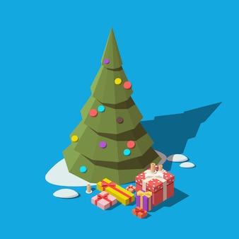 Isometrische weihnachtsbaum und geschenkboxen