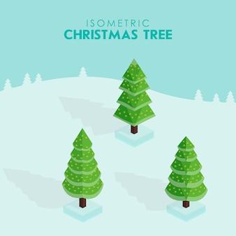 Isometrische weihnachtsbaum.