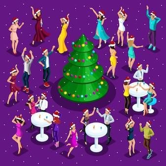Isometrische weihnachtsfeier, tanzen, glück eines mannes und einer frau haben spaß, festlichen weihnachtsbaum in der mitte, firmenfeier, nachtclub
