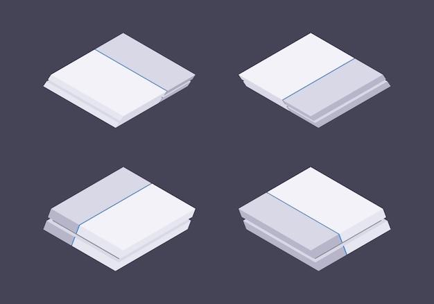Isometrische weiße nextgen-spielekonsole
