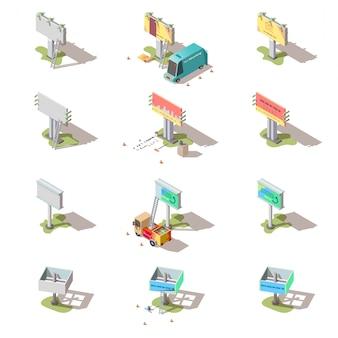 Isometrische werbetafeln, werbungsstraßenfahnen eingestellt